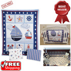 Bedding Set Sail Away Themed Design Blue Quilt Sheet and Dust Ruffle 3-Pc