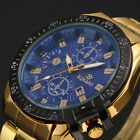 Mens Black Dial Gold Stainless Steel Date Quartz Analog Sport Wrist Watch NA