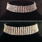 Gold/Silver Bling 7 Row Choker Necklace,bridal,bridesmaid,prom,party SV16-007
