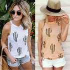 Women Cactus Printed Vest Sleeveless Shirt Blouse Summer Casual Loose Tank Tops