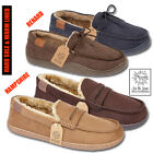 Mens slippers fleece lined Winter Warm Hard Sole Comfort Dads Gift Shoes Sizes