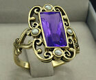 R331 Genuine 9K, 10K, 14K or 18K Solid Gold Natural Amethyst & Pearl Dress Ring