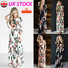 UK Women Floral Print Long Sleeve Boho Dress Ladies Evening Party Long Maxi