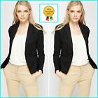 LADIES WOMENS BUTTON FRONT CROPPED BLAZER JACKET SIZE