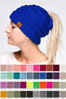 ScarvesMe C.C Beanietail Ponytail Messy Bun Solid Ribbed Beanie Hat Cap