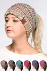 ScarvesMe C.C Four Tone Beanietail Ponytail Messy Bun Solid Ribbed Beanie Hat