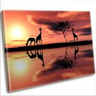 Giraffe Canvas Print - African Animals At Sunset Framed Wall Art Picture