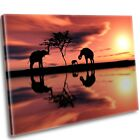 African Elephants Sunset Canvas Print Framed Wall Art Picture