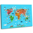 Animal Fun Map of the World for Children Kids Bedroom Framed Canvas Art Print .2