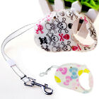 New Dog Pet Retractable Leash With Stop -And-Lock Control Skull Bow Printed Cute