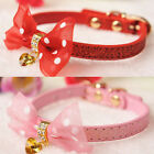 "Small Dog Puppy Kitten PU Leather Collar w/ Bling Heart Diamond Pendant 8""---10"""