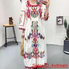 Cotton Linen Floral Embroidered long Style Boho Skirt Maxi flower Ladies Dress