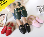 New Women Princetown Horsebit Genuine Rabbit Fur Lined Loafer Slipper Mule Shoes