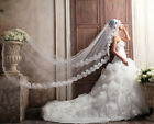 New Wedding bridal Applique lace 3M long veil Cathedral vintage mantilla