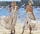 Beige Floral Spaghetti Strap Backless Halter Smocked Side Slit Maxi Dress NWT