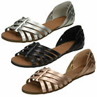 WHOLESALE Ladies Flat Strappy Sandals / Sizes 3-8 / 18 Pairs / F00051