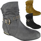 New Womens Ladies Faux Suede Buckle Slouch Low Heel Wedge Ankle Boots Shoes Size