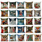 Christmas Santa Claus Dog Cotton Sofa Pillow Case Cushion Cover Throw Home Decor
