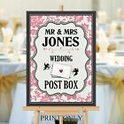 Personalised Wedding Post Box Sign Poster Print N184 (Print Only)