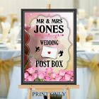 Personalised Wedding Post Box Sign Poster Print N196 (Print Only)
