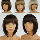LADIES WOMENS SHORT STYLE BOB WIG BROWN BLONDE BLACK SILVER GREY B38 UK SELLER