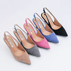 AnnaKastle Womens Genuine Suede Leather Pointy Toe Slingback Heel Pumps