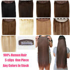 One Piece 5 Clip In 100% Real Remy Human Hair Extensions Black Blonde 100g