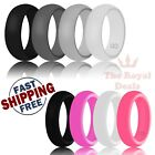 4Pcs Silicone Women Men Wedding Ring Durable Rubber Flexible Band Sport Gym Work