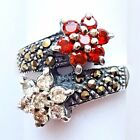 (SIZE 6,7,8,9) TWO FLOWERS RING Garnet & White CZs Marcasite 925 STERLING SILVER