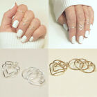 5Pcs/Set Women Gold Silver Above Knuckle Fashion Finger Ring Band Midi Rings