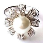 (SIZE 6,7,8,9) PEARL RING w/ CZ Studded Ribbon Petals .925 STERLING SILVER