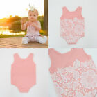2017 fashion baby clothes sleeveless lace floral  pink bodysuit girl bodysuit