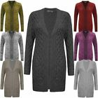 Ladies Womens Aran Knit Cable Knitted Pocket CARDIGAN Long Dress Top 8 10 12 14
