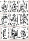 Alice In Wonderland A5 OR A4 size decoupage sheets -9 design prints , you choose