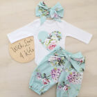 3PCS Newborn Baby Girls Floral Outfit Clothes Romper Jumpsuit Bodysuit+Pants Set