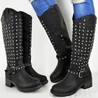 Womens Ladies Calf High Riding Boots Studded Embellished Goth Punk Shoes UK Size