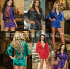 Sexy Women Satin Lace Silk Lingerie Sleepwear Nightdress Robe G-string Babydoll