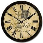 Paris LARGE WALL CLOCK 10- 48 Whisper Quiet Non-Ticking WOOD HANDMADE