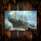 Купить Modern decor Caribbean Pirate Ship oil painting wall Giclee art print on canvas
