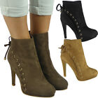 Womens Ladies Lace Up High Stiletto Heel Party Evening Ankle Boots Shoes Size