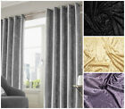 Crushed Velvet Pair Fully Lined Eyelet Ring Top Curtains Ready Made Black Silver