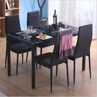 Home Dining Table 4 Chairs Seater Set Faux Leather Kitchen Black Soft UK STOCK