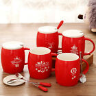 Red Christmas Cup Coffee Holiday Mug Ornament Ceramic Cartoon Couple Gift Favors