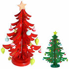 Premier 25cm Wooden Christmas Tree with Ornaments - Red or Green