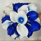 Royal Blue Ivory White Calla Lily Bridal Wedding Bouquet Package