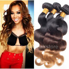 T#1B#4#27 Ombre Weft 3 Tone Hair Extensions Brazilian Body Wave Human Hair Weave