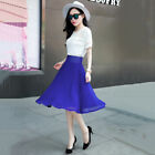 New Women Summer Fashion Chiffon Pleated High Waist Knee Length Full Midi Skirt