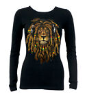 Junior's Dreadlocks Rasta Lion Black Long Sleeve T Shirt Jamaican Reggae Rave DJ