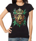 Junior's King Of Weed Lion Black T Shirt Women's Reggae Rasta Blunt Weed Kush
