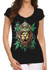 Junior's King Of Weed Lion Black V Neck T-Shirt Reggae Rasta Kush Blunt Cannabis